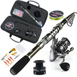 Fishing Rod Telescopic With Spinning Reel Pole Combos Kit Wi
