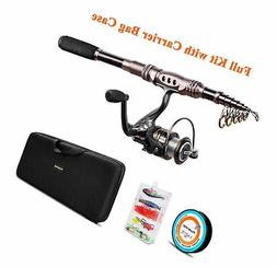 Fishing Spinning Rod Reel Combo Telescopic Pole Full Kit w/