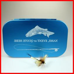 FLY BOX PERSONALIZED Aluminum FLY BOX BLUE Trout Rod - foam