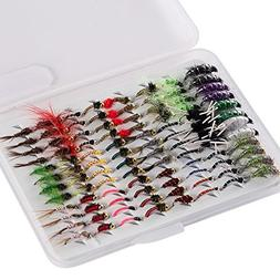 Bassdash Fly Fishing Nymph Flies Kit, Pack of 96 pcs Fly Lur