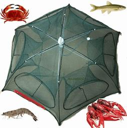 Fishing Bait Foldable Crab Net Trap Cast Dip Cage Fish Minno