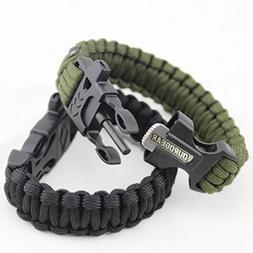 Duro Gear Survival Paracord Bracelet Fire Starter Flint Magn