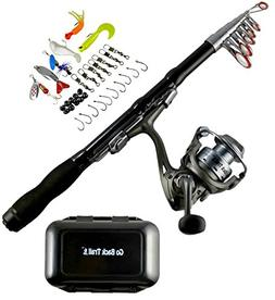 Fishing Rod Combo with Tackle - 1.5 M Carbon Fiber Collapsib