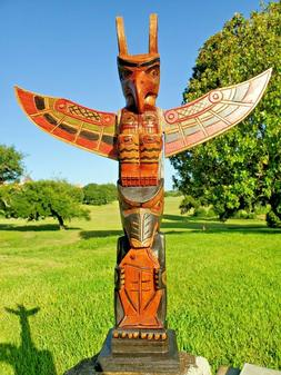 """HANDCARVED WOOD 20"""" X 4 INCH TOTEM POLE FISH DESIGN WITH DET"""