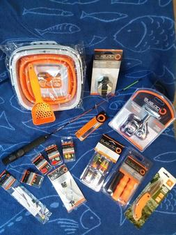 Ice Fishing, rod and reel combo, jigs, cleats, safety kit, a