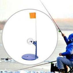 Ice Fishing Rod Tip-Up Compact Metal Pole Orange Flag Fishin