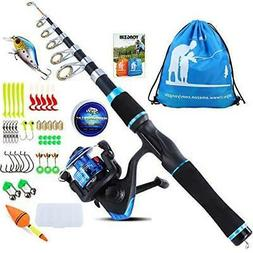 YONGZHI Kids Fishing Pole,Telescopic Rod with Spinning Blue