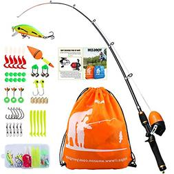Kids Fishing Pole with Spincast Reel Telescopic Fishing Rod