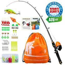 YONGZHI Kids Fishing Pole with Spincast Reel Telescopic Rod