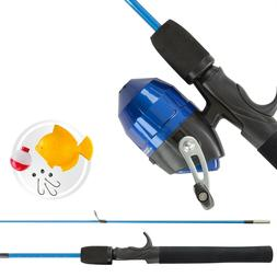 Kids Push Button Spincast Fishing Pole Starter Kit Blue Rod