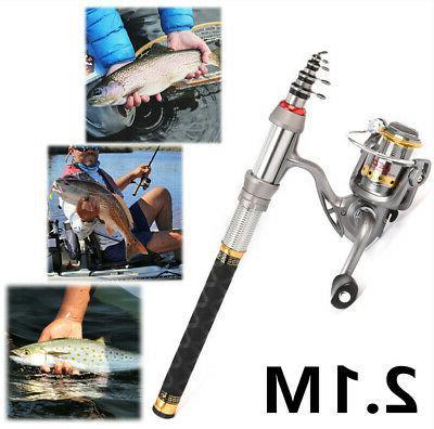 2.1m Lixada Telescopic Fishing Rod and Reel Combo Full Kit S