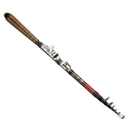 2xProfessional Carbon Telescopic Fishing Rod Spinning Rod 2.1m