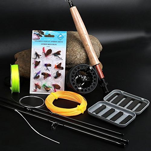 Sougayilang Freshwater Fly Fishing Rod with Reel Lines Flies Combo