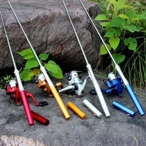 aluminum mini retractable pocket pen fishing rod