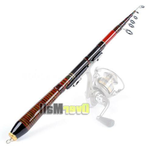 Carbon Fiber Telescopic Fishing Rod Spinning Pole +Fishing