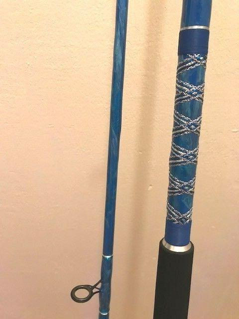 CUSTOM SURF CASTING OR PIER ROD BLUE MARBLE 10 2 PC NEW