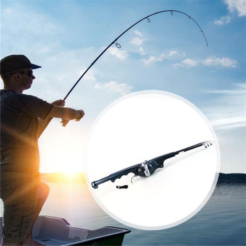 fiberglass foldable spinning telescopic fishing rod reel