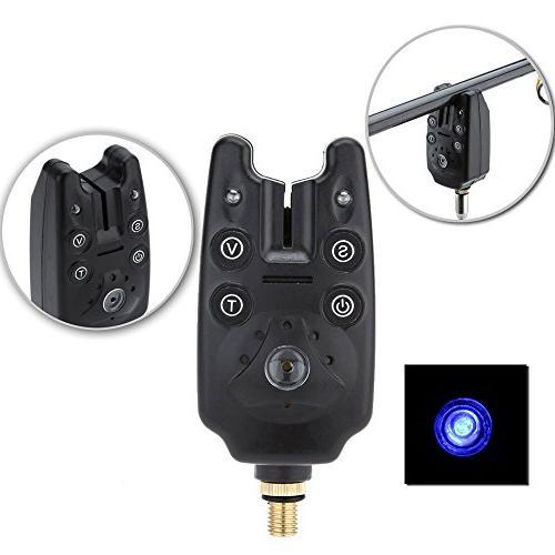 Lixada Fishing Alarm 2 LEDs Carp Fish Water Adjustable Tone Alert Rod