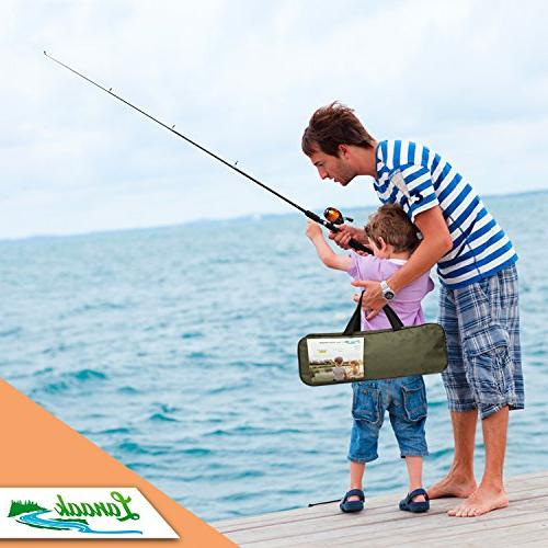 with Spincast and Beginner's Guide Fishing Rod and Adults