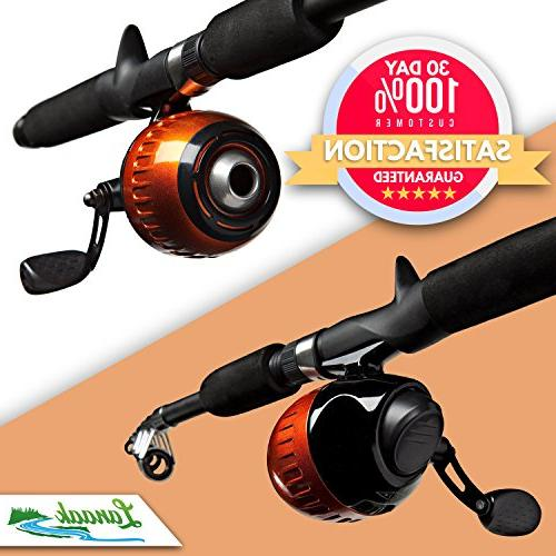 Lanaak Kids Fishing Pole and Box with Net, Travel Guide Collapsible Rod Reel Combos Kit Boys, and