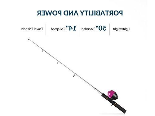 Kids for Girls All-in-One Combo Set | Pink Youth Fishing Rod, Tackle Box, Travel Bag, | Pole Kit