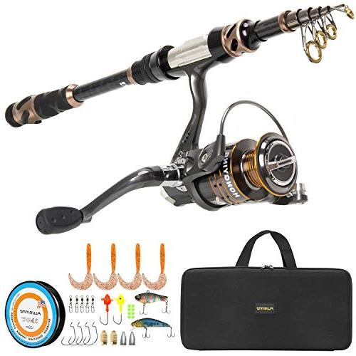 PLUSINNO Rod and Reel -24 Ton Carbon Fishing 12 Shielded Stainless Steel BB-Free Carrier Bag Case, Travel Freshwater