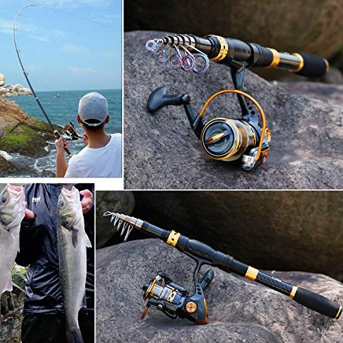Sougayilang Rod Combos Fiber Fishing with Reel Travel Freshwater