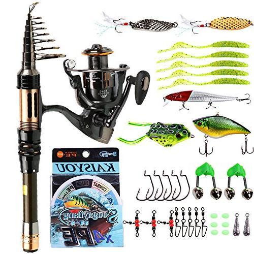 Sougayilang Fishing Rod Reel Combos Mini Spinning Portable P