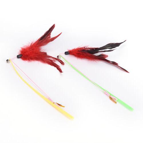 fishing feather wand plastic pet random