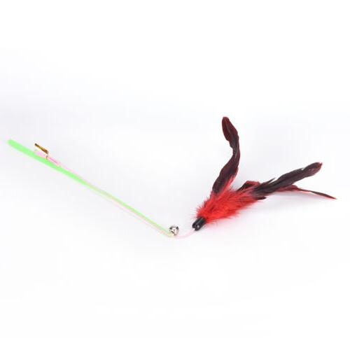 fishing feather teaser wand pet for cats random CYG$