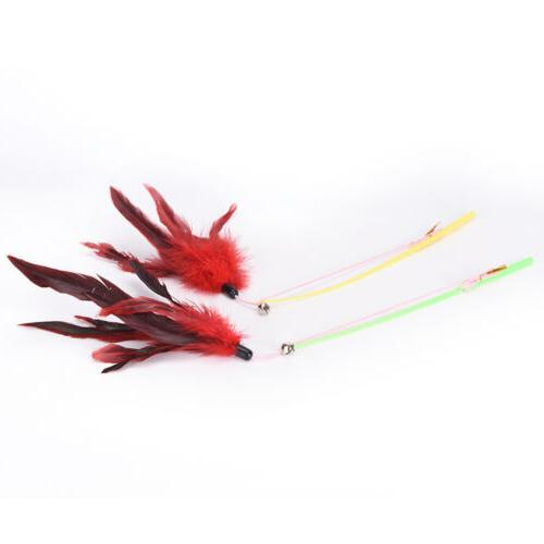 fishing bird feather wand pet toy for cats random