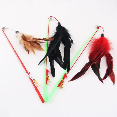 fishing rod type bird feather teaser wand