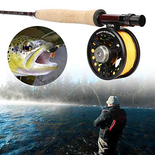 RUNCL Fly Fishing & Combo I, Fly Fishing Kit, Starter Kit - Fuji A Solid Wood Reel Teflon Disc-Drag System, Handmade Fishing