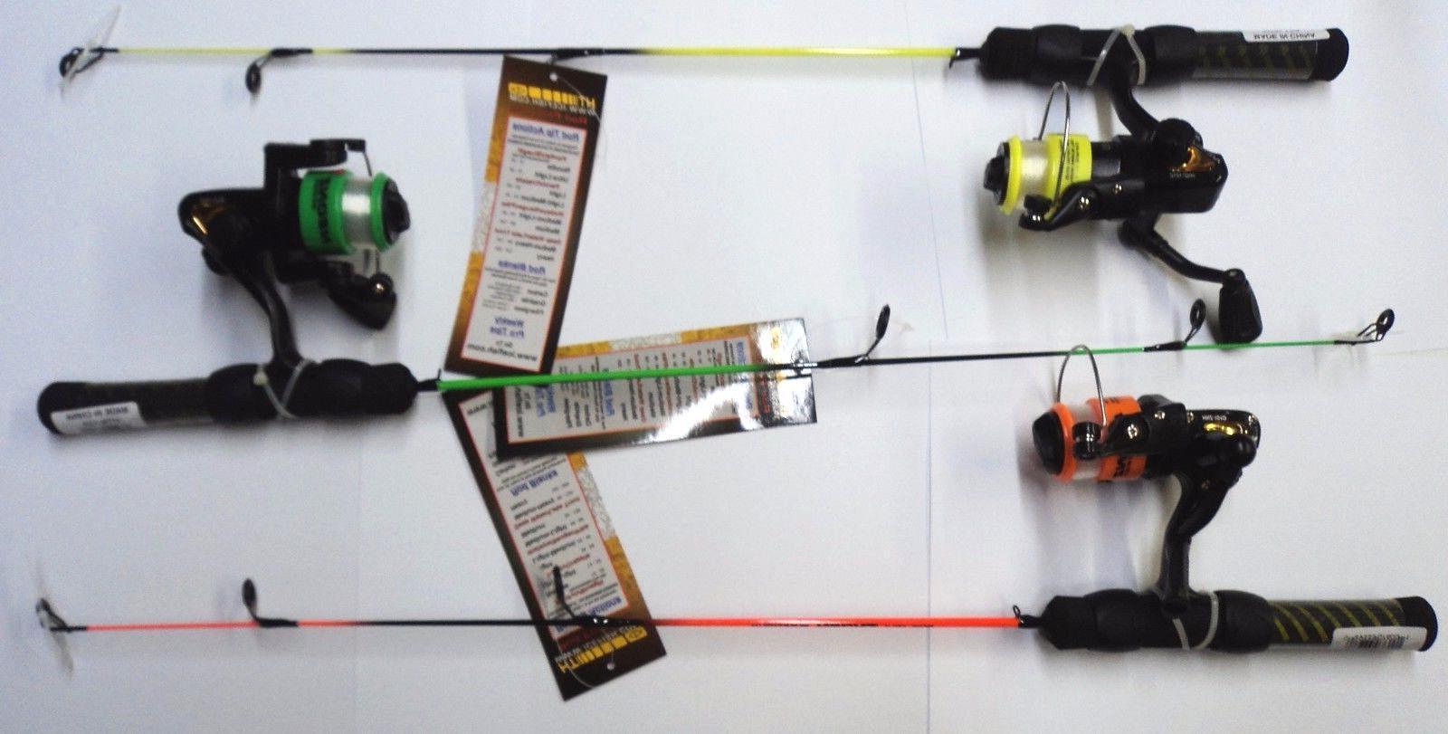 "HT Neon 24"" Ice Fishing Rod/Reel Assortment, THREE Light Act"
