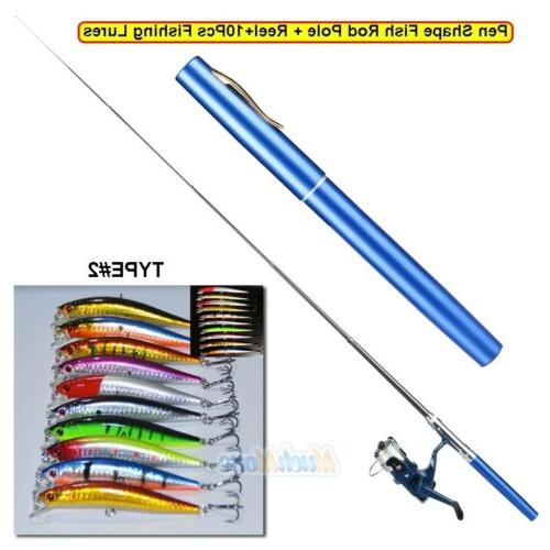 Mini Aluminum Pole+Reel+Fishing Lures Kits