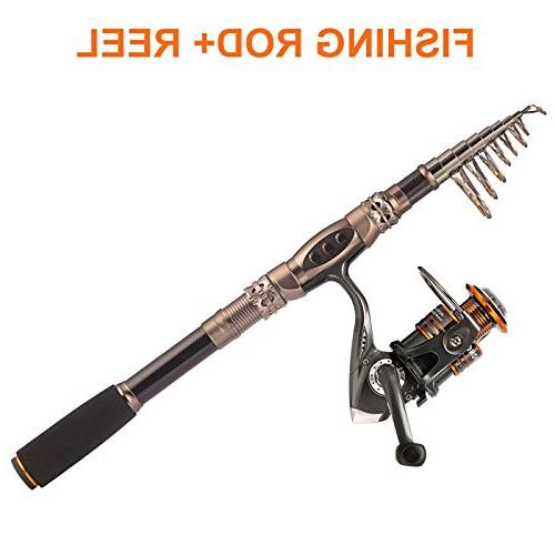 PLUSINNO Spin and Combos Carbon Telescopic Reel Freshwater Kit Fishing Rod Kit