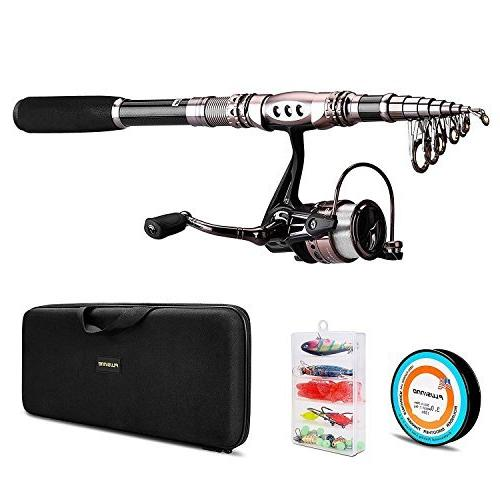 PLUSINNO Telescopic Fishing with Lures Hooks Carrier Bag Case and Gear Organizer