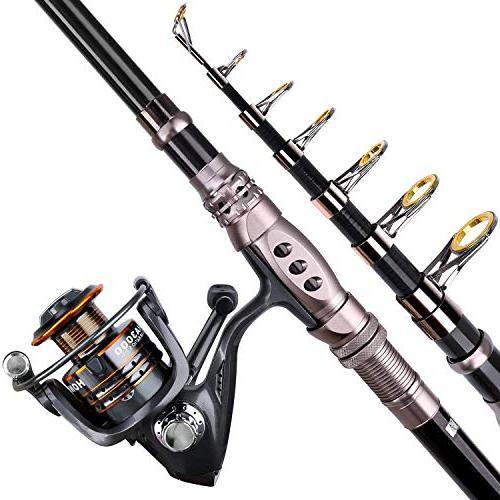 PLUSINNO Telescopic Fishing Reel Full Spinning Fishing Pole Line Hooks Reel Carrier