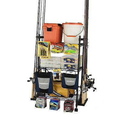 Organized Fishing Adjustable 3-Shelf Rolling Tackle Trolley