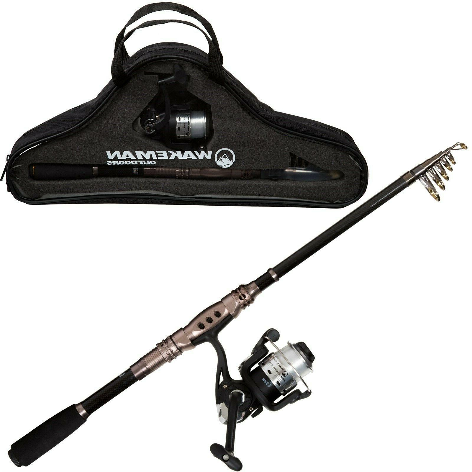 Telescopic Carbon Fiber and Steel Rod and Reel Combo 86 Inch