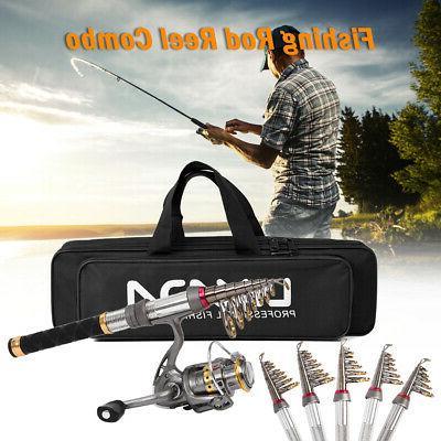telescopic fishing rod reel combo kit spinning