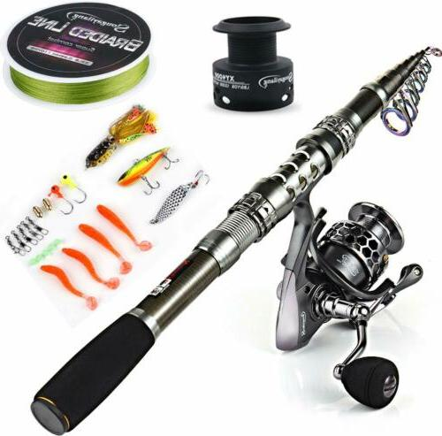 telescopic fishing rod reel combos