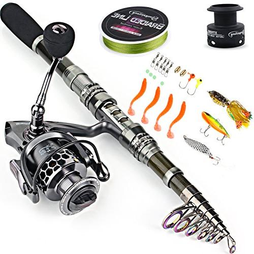 Sougayilang Combos with Telescopic Spinning Reels Bag Travel Freshwater Fishing