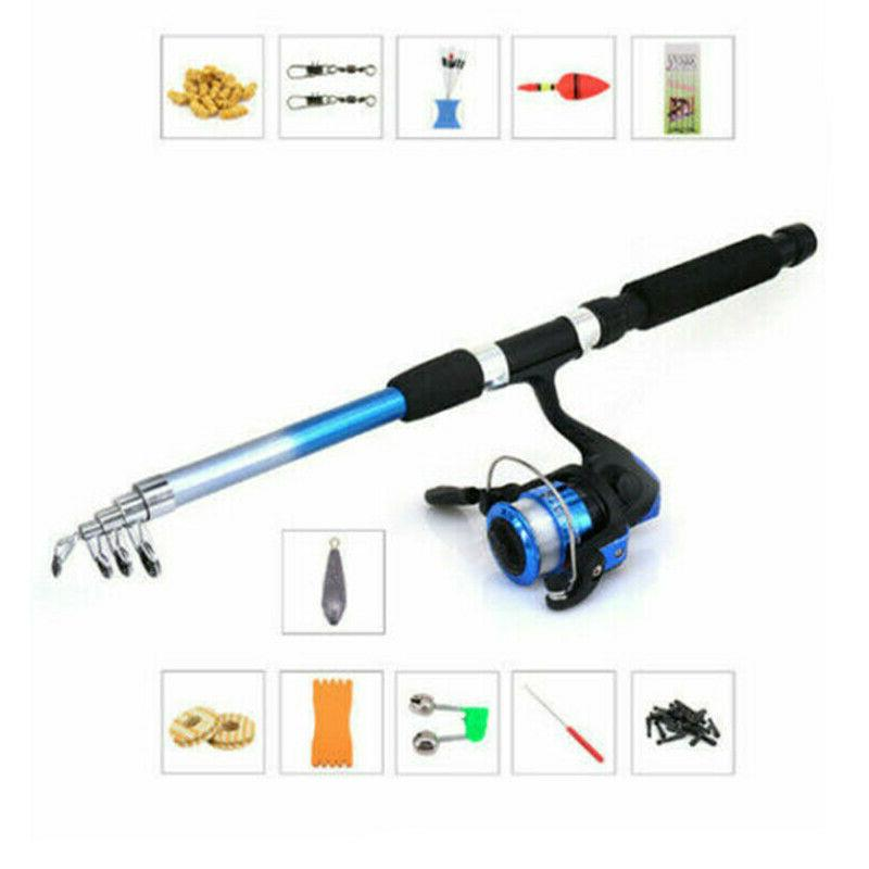Telescopic Fishing Rod Line Spinning Pole Lure Set 1.8m