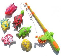 Learning & education magnetic fishing toy with 6 fish and a