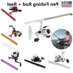 4PCS Mini Aluminum Pocket Pen Fishing Rod Pole + Reel Popula