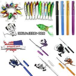 Mini Aluminum Portable Pen Shape Fishing Fish Rod Pole + Fis