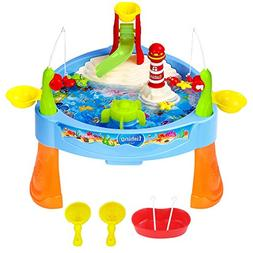 Zooawa Mini Fishing Game Set, Electric Magnetic Rod and Reel