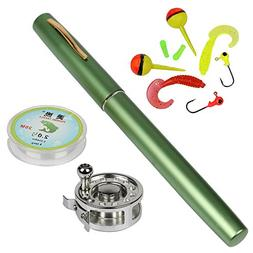 YOGAYET Mini Pocket Ice Fly Fishing Rod and Reel Combos Set