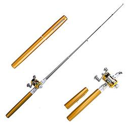 Walsilk 38Inch Mini Telescopic Pen Fishing Rod Reel Combos f